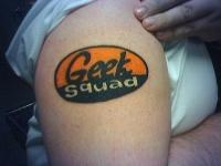 Amazing coloured geek tattoo on shoulder