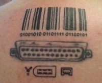 Awesome barcode and computer ports geek tattoo