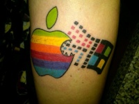 Awesome coloured apple windows symbol tattoo