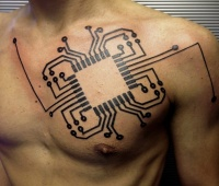 Awesome computer circuit geek tattoo on chest