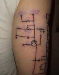 Black lines circuit geek tattoo