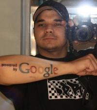 Cool google symbol geek forearm tattoo